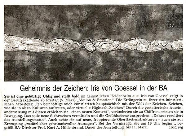 Heidenheimer Neue Presse zur Ausstellung der Künstlerin Iris von Goessel
