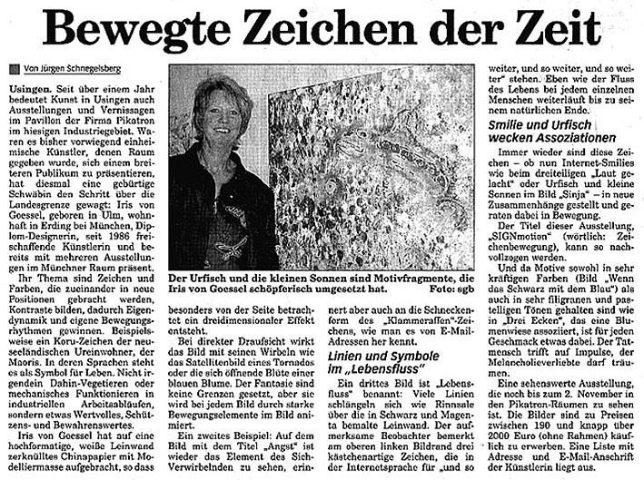 Pressestimme zur Ausstellung Bewegte Zeichen der Zeit der Künstlerin Iris von Goessel